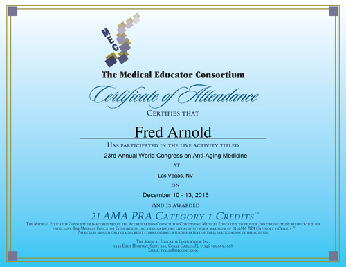 Dr. Fred Arnold attends the 23rd Annual World Congress on Anti-Aging Medicine in Las Vegas
