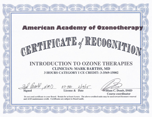 American Academy of Ozonotherapy Certificate