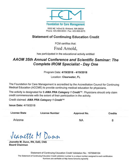 AAOM Conference 2018 Certificate Day One