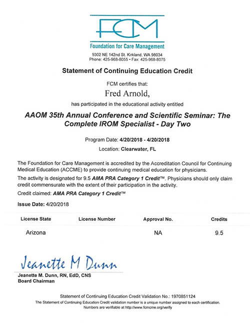 AAOM Conference 2018 Certificate Day Two