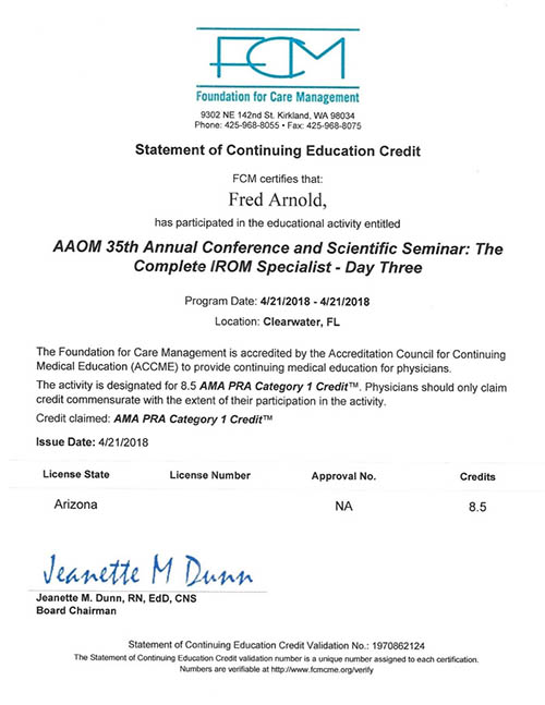 AAOM Conference 2018 Certificate Day Three