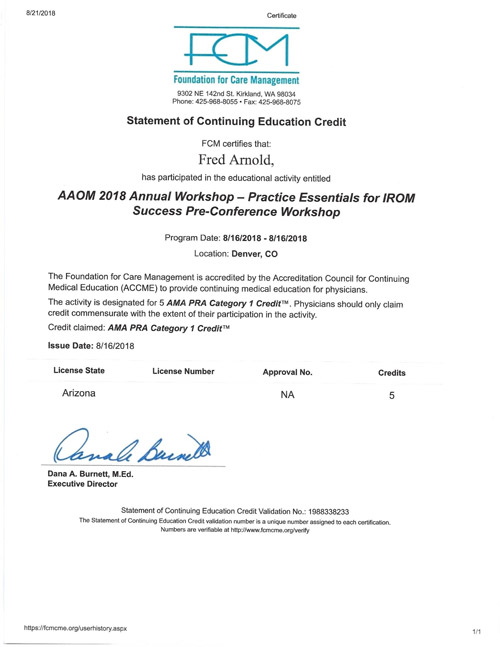 AAOM Annual Workshop 2018 Certificate