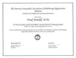 AOAPRM Prolotherapy Certification