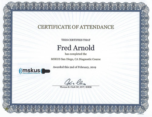 MSKUS Ultrasound Diagnostic Course 2019 Certificate