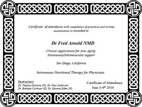 Clinical Applications of Anti-Aging Intravenous and Intramuscular support Certificate