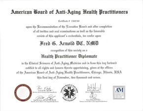 Diplomate, American Board of Anti-Aging Health Practitioners Certificate