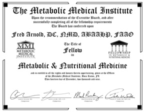 Metabolic Fellowship Certificate