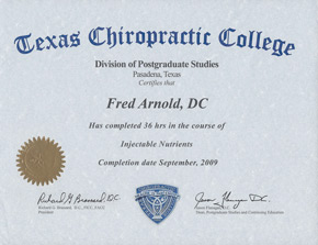 Texas Chiropractic College Certification