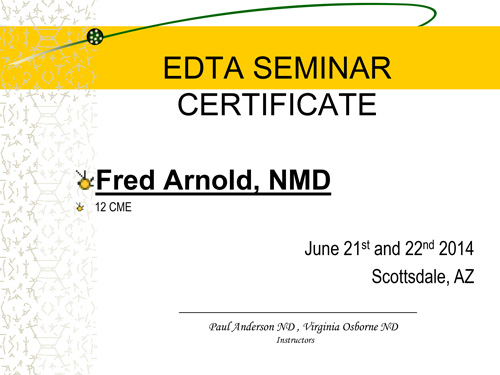 Dr. Fred Arnold becomes certified in Heavy Metal Toxicology
