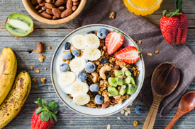 Bowl of Fruit, Nuts, and Oats